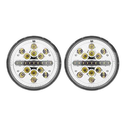 Hlyjoon LED Headlight 2 PCS 7 Pollici 60W LED Auto fari Kit di conversione Tondo DC 12-24V Veicolo LED High Low Beam Bulb Headlamp per Jeep Wrangler JK TJ CJ Lada(Senza Halo (Facoltativo))