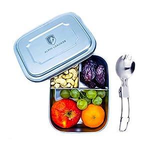 Alpin Loacker Edelstahl Lunchbox für Kinder und Erwachsene mit Faltgöffel Brotdose, Brotbox, Vesperbox, Vesperdose mit Fächern, Trennwand | Bento Box für Kinder