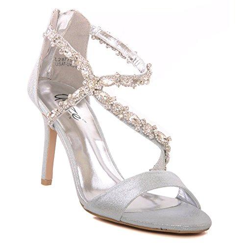 Unze Le nuove donne Ladies 'Gigi' Diamante ha abbellito Peep Toe alto tacco medio da sera, da sposa, partito di promenade scarpe Dimensioni 3-8 Argento