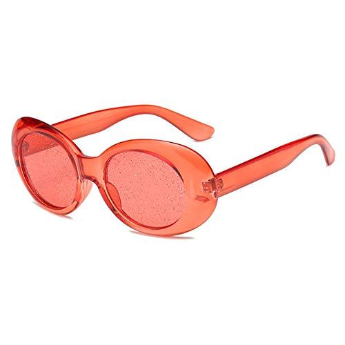TIANKON Vintage Glitter Sonnenbrillen Large Size Damen Clear Frame Retro Brillen Herren Oval Sonnenbrillen,C3 Rot