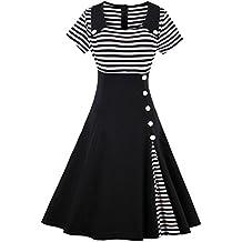 ZAFUL Robe Vintage Années 50 Audrey Hepbum Manche Mi Longue Robe à Rayures élégante Pour Soirée