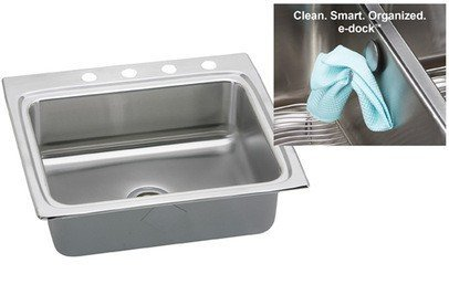Bowl Top Mount Kitchen Sink (Elkay DLR252210EK4 18 Gauge Stainless Steel 25 x 22 x 10.375 Single Bowl Top Mount Kitchen Sink Kit with 4 Hole by Elkay)