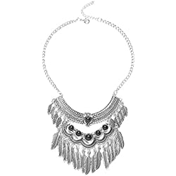 FENICAL Collar de Bohemia Borla de múltiples Hojas Colgante Joya Rhinestone Collar de Joyas Collar de declaración para Mujer (Plata)
