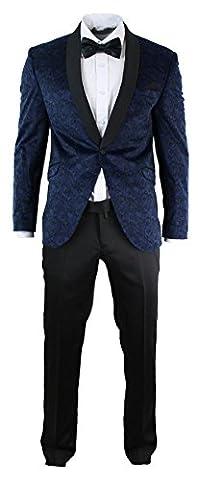 Mens Slim Fit Velvet Paisley Blazer & Trouser Tuxedo Dinner Suit Blue Black