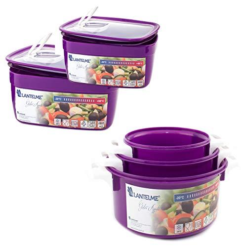 Lantelme 6057 Familien Mikrowellenschüssel Set 5 tlg. Kunststoff Farbe violett Spülmaschinengeignet