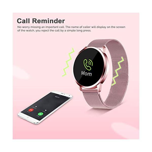 Smartwatch Mujer Rosa Impermeable Reloj Inteligente Elegante Fitness con Monitor Impermeable IP67 con Monitor de Sueño Pulsómetros Podómetro Contador de Caloría Compatible con iOS Android 8