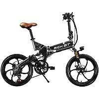Rich Bit® RT730 Vélos électriques Assistance Vélos plaints 7 Vitesses Cadre pliant Chargeur Mobile Freins à disque 20'' Roue Shimano Dérailleur Roue intégrée Gris