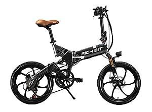RICH BIT® RT 730 Electric Bike eBike Klapprad 250W * 48V 8Ah Akku 7Speed 7 Gängen ausgestattet Handy-Ladegerät und Halter Dual Mechanische Bremse 20zoll Rad City Pendeln Bike Shimano Umwerfer Lange dauert New Fashion Malerei grau