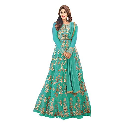 Karma fashion Green Net Heavy Suits for Women for Party Wedding Wear Floor Length Gown/Anarkali Suit/Salwar Suit