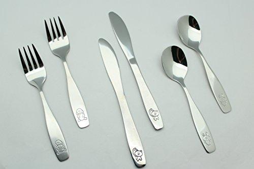 EXZACT in acciaio inox per bambini Posate 6 pezzi Set - 2 x forchetta, 2 x coltelli, 2 x Cucchiai Cena (Cane Gatto Coniglio x 6)