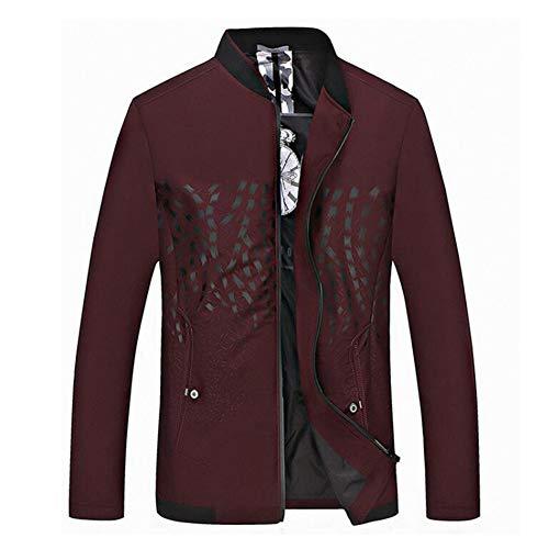 Herren Outdoor Jacken 2018 Frühling Herbst Casual Mantel lose Business Formelle Kleidung Jacke Tops Plus Größe (Farbe : Burgund, Größe : 190/3XL)