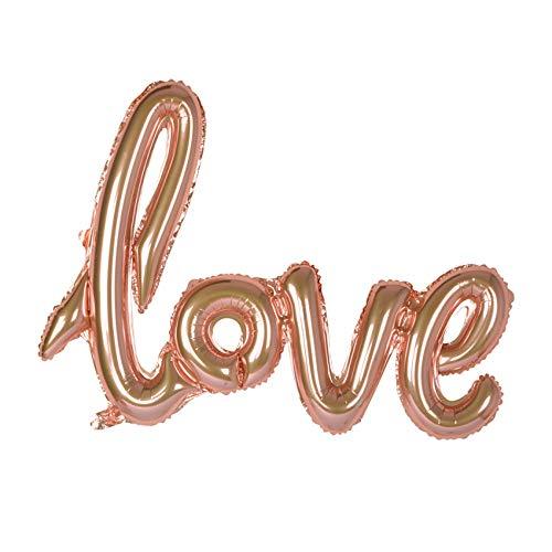 partydiscount24 Folienballon Love Schriftzug (Schreibschrift) - Rose Gold 119 cm + 5 Gratis Luftballons Rose Gold Ø 30 cm