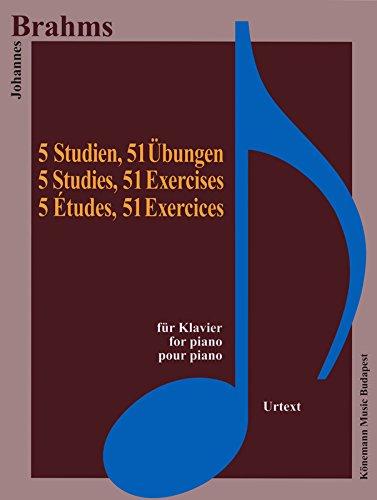 Partition - Brahms - 5 études 51 exercices - pour piano