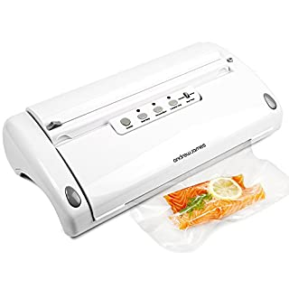 Andrew James 5 in 1 Food Vacuum Sealer Machine | One Touch Operation | 6m Reusable Roll | Ideal for Sous Vide Cooking Space Saving Waste Reduction & Freezing | 110W