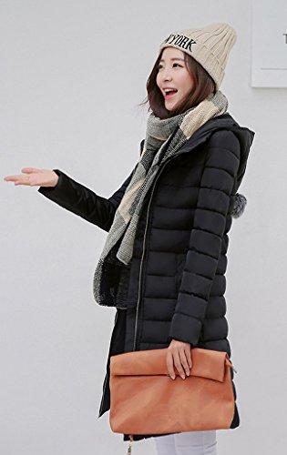 Smile YKK Manteau Long Femme Parka Hiver Automne Blouson Veste à Capuche Zip Chaud Chic Noir