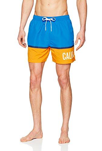 Calvin Klein Herren MEDIUM Drawstring Badehose, Blau (Electric Blue Lemonade 413), Large