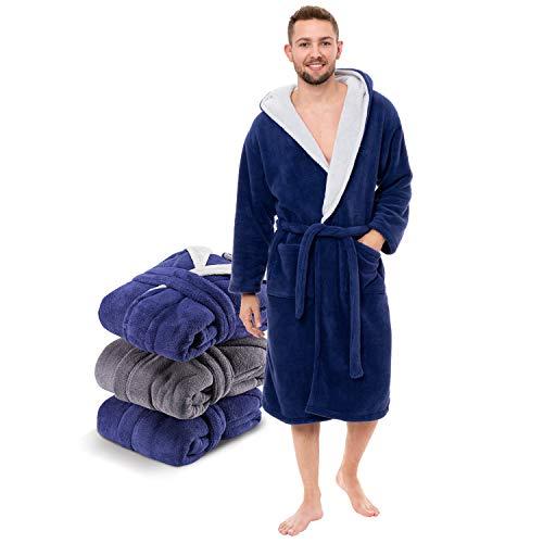 Twinzen ⭐ Albornoz Microfibra (100% Poliéster) Hombre Largo con Capucha para Adulto (Large, Bicolor Azul Oscuro/Gris Claro) Certificación Oeko Tex - Bata de Baño 2 Bolsillos, Cinturón y Aro