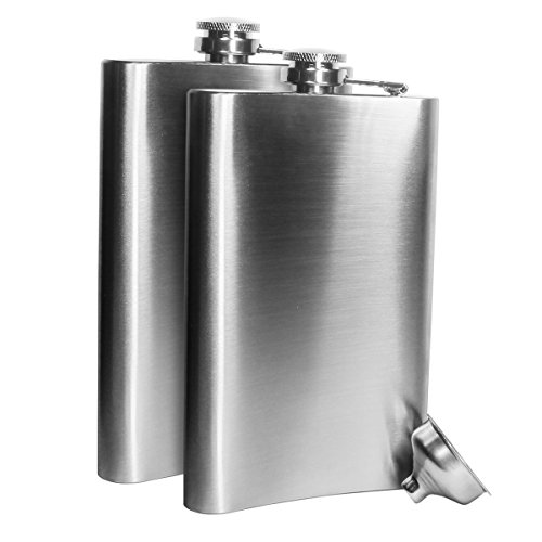 Petaca de Acero Inoxidable para Whisky Licor Alcohol con tapón de rosca embudo, acero inoxidable, Plateado,duradero y resistente a la corrosión resistente Premium Acero Inoxidable Práctico y fácil de (8oz-2pack)