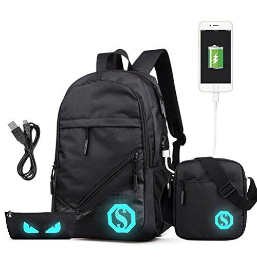 Rucksack USB Ladeanschluss Schulrucksack Jugendlichen Jungs Casual Canvas Jungen Schultasche mit Fluoreszenz 3 Teiliges Schultaschen-Set + Umhängetasche + Geldbeutel/Mäppchen