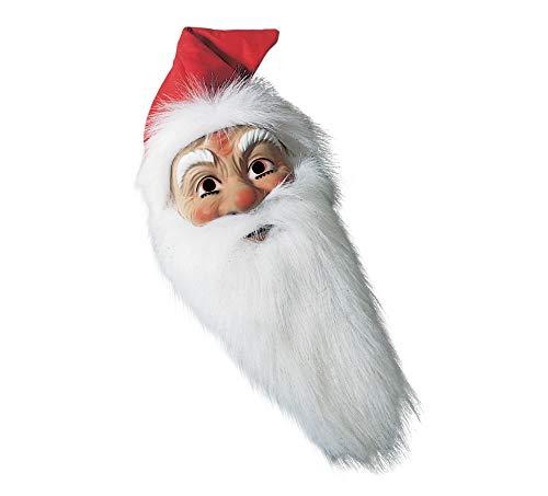 Matrodo- Nikolaus-Weihnachtsmann Maske mit langem,weissem Bart und roter, Langer Kapuze Made in ()