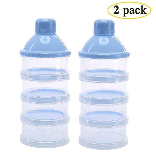 2 Stück Milch Pulver Spender, Formel Milchpulver-Portionierer für 4 Schicht, Säuglingsformel Milchpulver Säuglingsnahrung Kasten Tragbare Milchkasten & Snack Reise im Freien, BPA-frei -