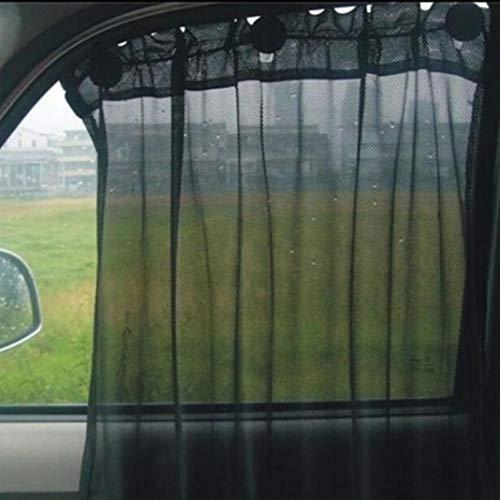 YSHtanj Auto-Fenstervorhang, Innendekoration, 2 Stück, Auto-Seitenfenster, Netzvorhang, Sonnenschutz, UV-Schutz, Saugnapf, Visier - Schwarz