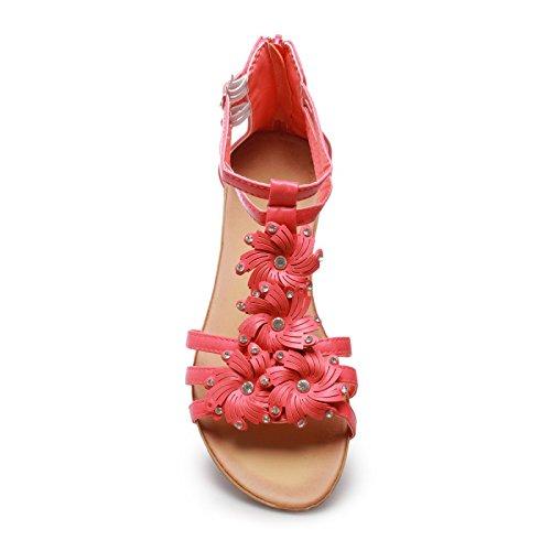 La Modeuse Sandales Femme avec Un Très Petit Compensé Fuchsia
