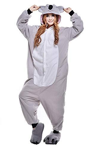 ShiyiUP Tier Schlafanzug Lustig Jumpsuit Cosplay Kostüm Overall Halloween Erwaschene Damen Herren Koala(Ohne Schuhe),S