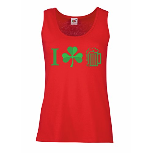 Breakfast Club Kostüm (Damen Tank-Top The Symbols of St. Patrick's Day - Irish Icons (Large Rot)