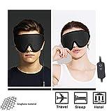 Masque de Sommeil Chaud en Soie de graphène Naturel, Soins des Yeux Recharge USB, Design 3D et Couvercle de Masque pour Les Yeux de Style Cool pour Dormir, Voyager, Faire la Sieste, Travailler,Black