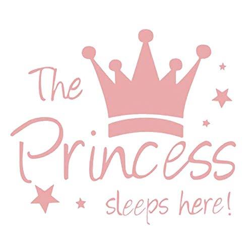 Prinzessin Krone Sterne Englisch Die Prinzessin schläft hier Kinderzimmer Wandaufkleber Wandtattoo Wandgemälde PVC Dekor Vinyl Aufkleber Wall Decals Wasserdichte Papier (52X60cm, A) (Metall-krone-wand-kunst)