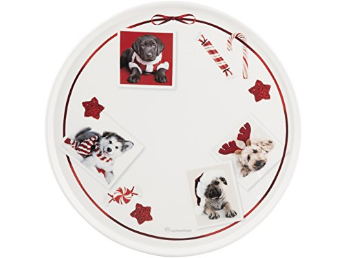Home Dogs Plat à Tarte, Faience, Blanc/Rouge, 30 cm