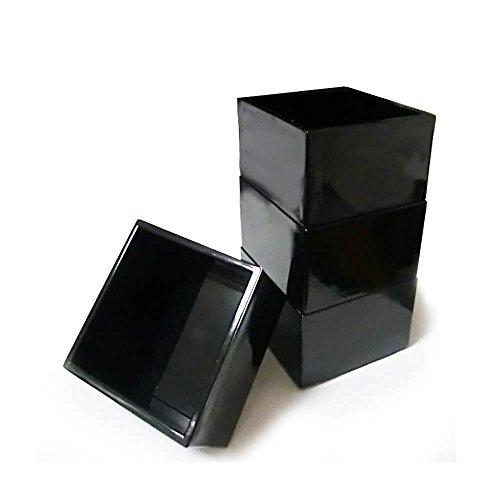 Japanische Sake Tasse, Sake Masu 7,6x 7,6cm, schwarz, 4PCS 4 Sake