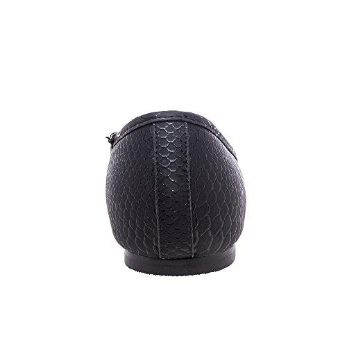 Andrés Machado - Ballerines effet croco en grande pointure Noir écailles (Serpiente Negro)