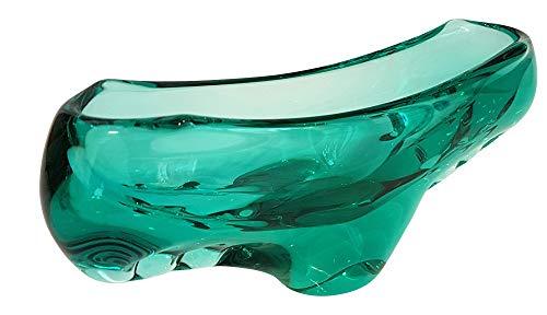 Bol en verre coloreé coquille ovale en cristal transparent souffle a la bouche dans la couleur verte transparente longeur env. 26 cm large env. 7 cm hauteur env. 12 cm Oberstdorfer Glashütte