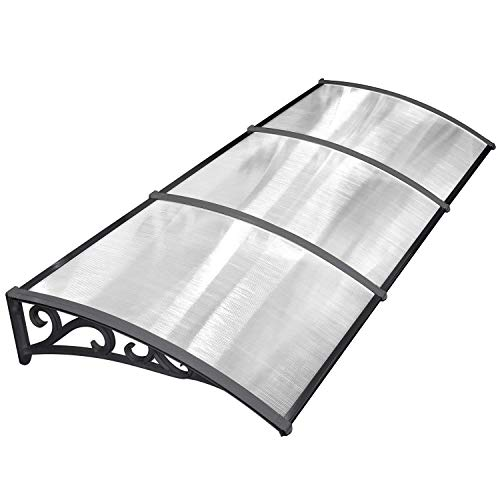 MVPOWER Vordach Türdach für draußen Pultbogenvordach Überdachung Polycarbonat Transparentes Schwarz (270x98.5cm)