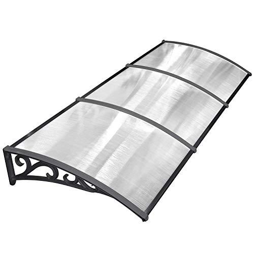 MVPOWER Vordach Türdach Stahl Pultbogenvordach Überdachung Polycarbonat Transparentes Schwarz (270x98.5 Cm)