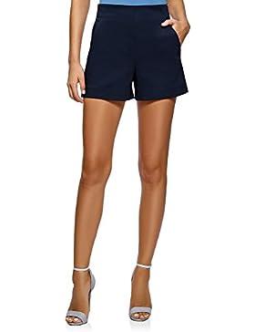 oodji Ultra Mujer Pantalones Cortos de Forma de Trapecio con Cremallera en el Lateral