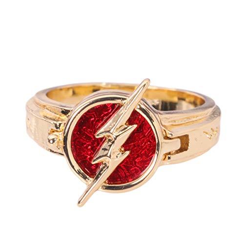 Xcoser Cosplay Ring Zink Legierung Golden Ring Blitz Logo Replik Season 5 Kleidung Kostüm Zubehör (Mädchen Kostüm Flash Für)