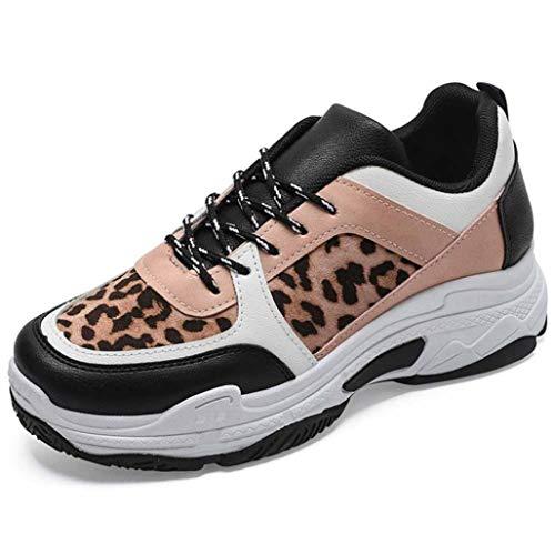 Zapatillas De Plataforma Gruesas para Mujer Zapatillas De Cuña con Estampado De Leopardo Retro Zapatos De Punta Redonda Zapatillas De Deporte Vulcanizadas Deportivas Transpirables Ocasionales