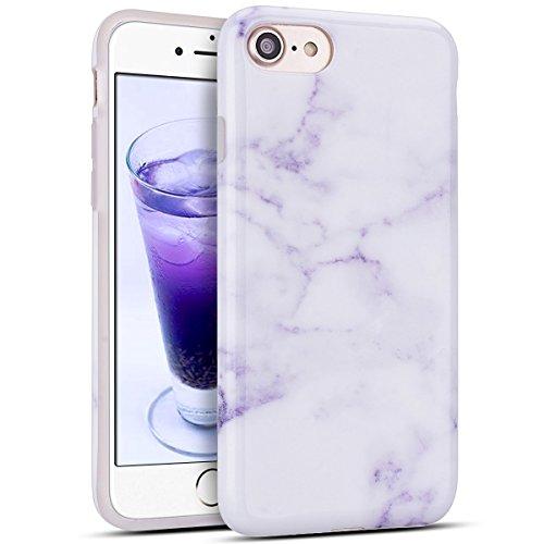 iphone 7 Hülle, iphone 8 Hülle, Marmor Design Muster TPU Dünn Silikon Schutzhülle für iphone 7 8, E-lush Kristallklar Durchsichtig Kratzfeste Handyhülle Ultra Chic Thin Weich Schutzhülle Rückschale Et Lila weiß