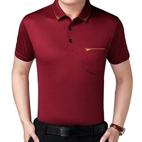 ZKOOO Herren Poloshirt Polohemd Lose Kurzarm Polokragen T-Shirt Polohemd Hemden Tops mit Taschen Sommer Freizeit Wein Rot
