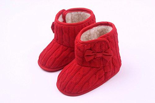 xhorizon TM FLX Madchen Baby Kids Bow Knit Woll Warm Weich Winter-Kleinkind Stiefel Schuhe Geschenk Y254 rot