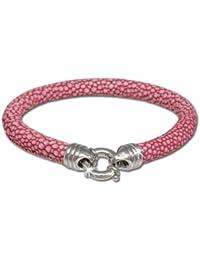 dfc83193b78a Sueño de plata pulsera de piel en rayas en relieve flamenco rosa 20 cm de  colour plateado y 925  anillo cierre original…
