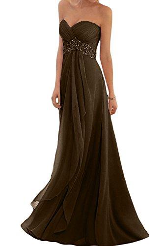 Toscana Braut, abito elegante con scollo a cuore, in chiffon, ideale per ballo Cioccolato