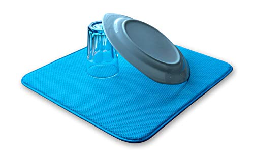 * NEUEINFÜHRUNG * ELEXCLEAN Abtropfmatte, Mikrofaser Schutz für Küche, Spüle und Geschirr (44x41 cm, Türkis/Grün-Blau) Trockenmatte als Abtropf Unterlage