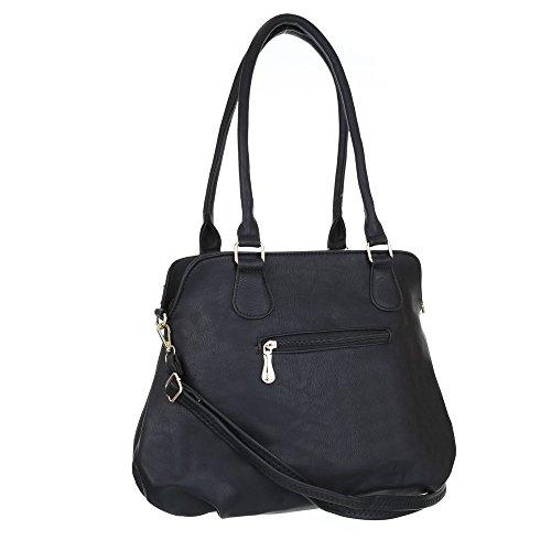 Damen Tasche, Schultertasche, Mittelgroße Used Optik Handtasche, Kunstleder, TA-9877 Schwarz