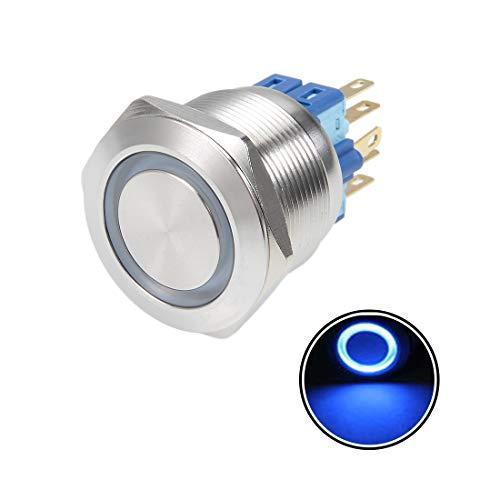 sourcing map Druckknopf Schalter Selbstsichernder Montage 5A 12V LED Lichtkopf Blau Dmr 22mm DE de Dpdt Push-button