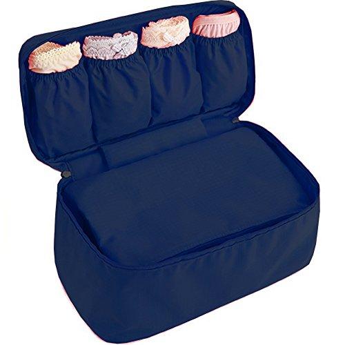 WOSON Multifunktional Unterwäsche BH Aufbewahrungstasche Wasserdichte Sockentasche Faltbare Bra Tasche Reisetasche Beutel (Dunkel Blau)