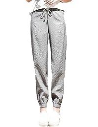 COMVIP Mujeres Los pantalones elásticos de cintura alta de algodón de lino  Novena Harem d28e898b8f16